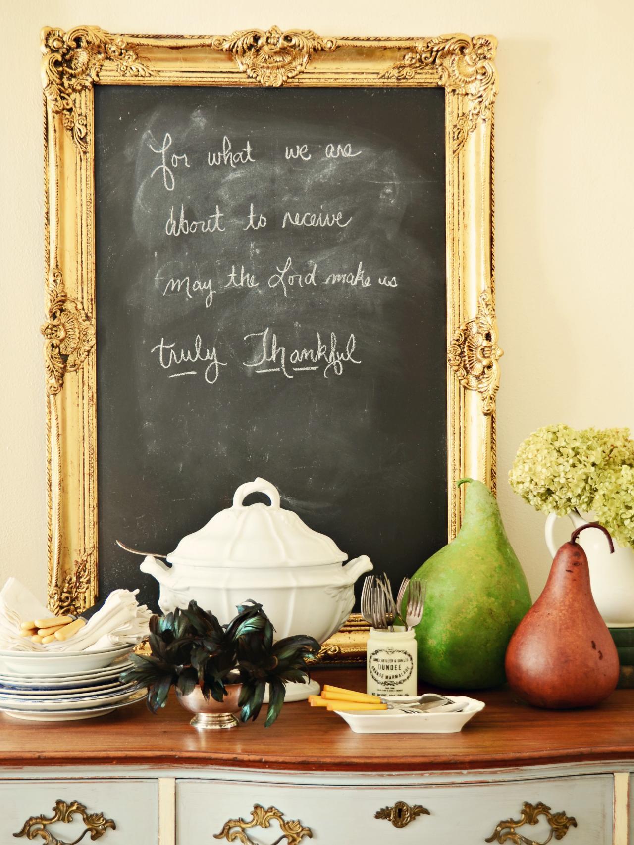 Uncategorized Make Framed Chalkboard how to make an ornate framed chalkboard hgtv gold leaf on buffet table