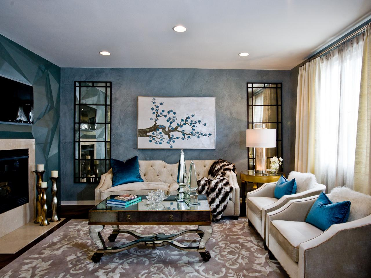 Our favorite color infused living rooms living room and for Blue wall art for living room