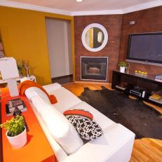 Mustard Yellow and Brown Living Room