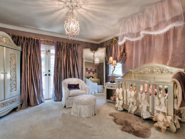 Mauve Nursery With Canopy & Damask Wallpaper