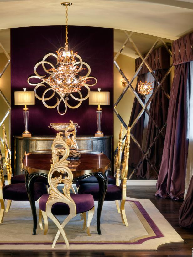 Dining Space With Sparkling Gold Chandelier and Diamond Mirrored Wall