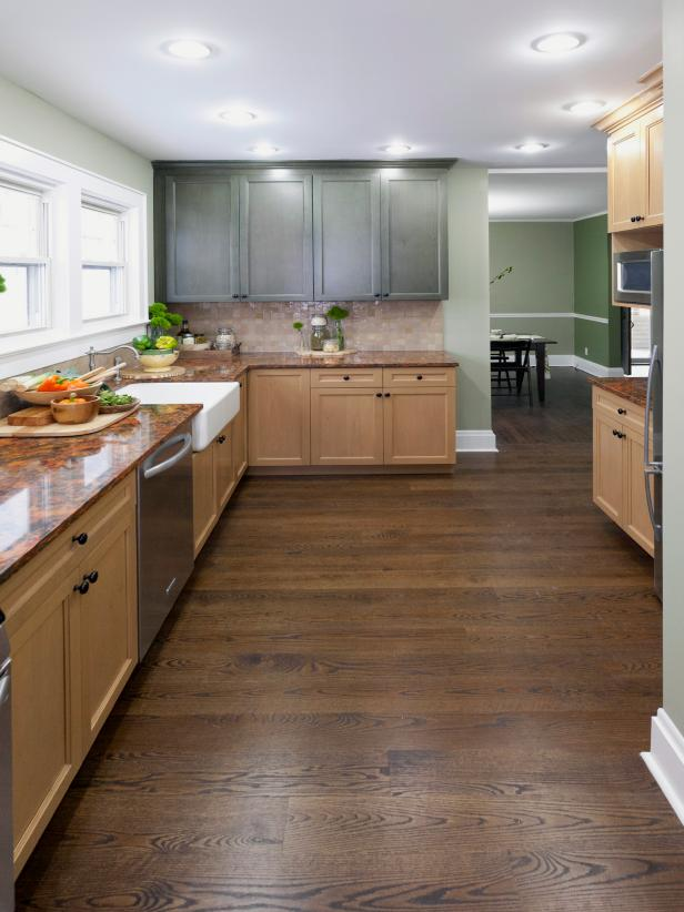 Kitchen with Natural and Painted Green Cabinetry
