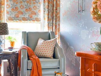 Orange And Gray Sitting Room With Floral Motif