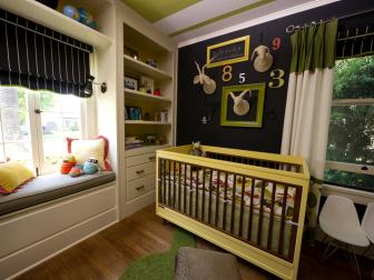 Transitional Nursery With Chalkboard Wall and Yellow Crib