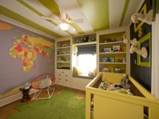 Green Eclectic Nursery with Map Mural