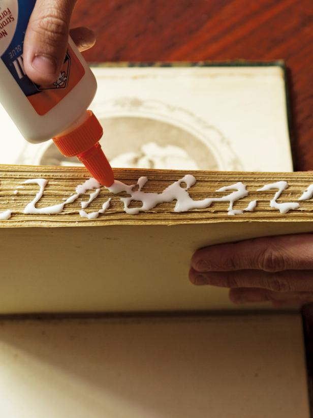 Gluing Book Pages Together to Make a Vintage Book Planter