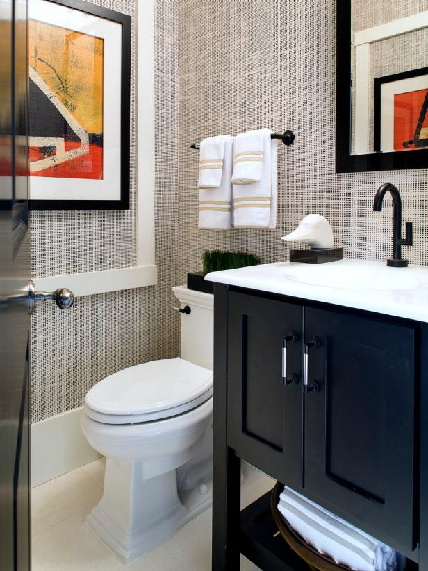 Neutral Bathroom with Grasscloth Wallpaper & Abstract Art