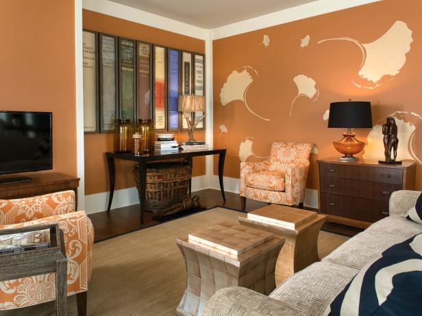 Orange and White Eclectic Living Room