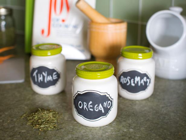 Chalkboard Spice Jars With Green Lids