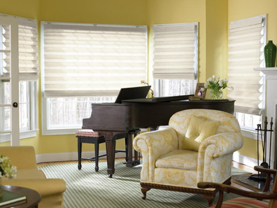 Window treatment ideas hgtv Window treatments for bay window in living room