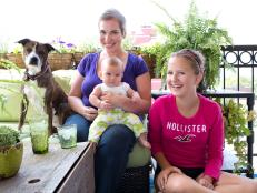 Family With Dog on Outdoor Patio