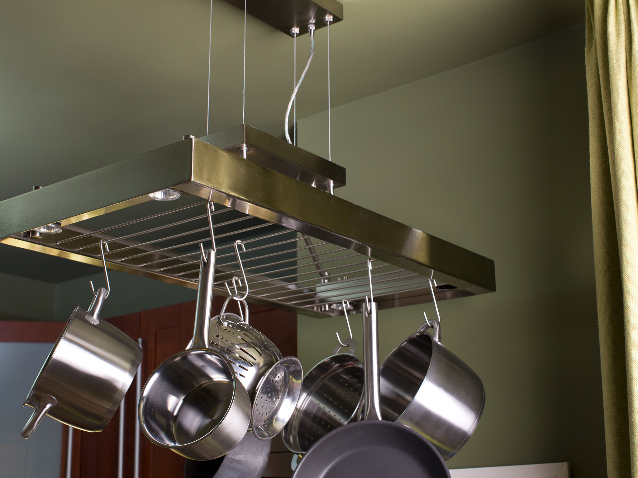 Kitchen Pot Rack Kitchen Pots And Pans Hanging Rack With Lights Amazing Light