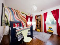 Modern Kids Bedroom With Waves of Color and Touch of British Charm