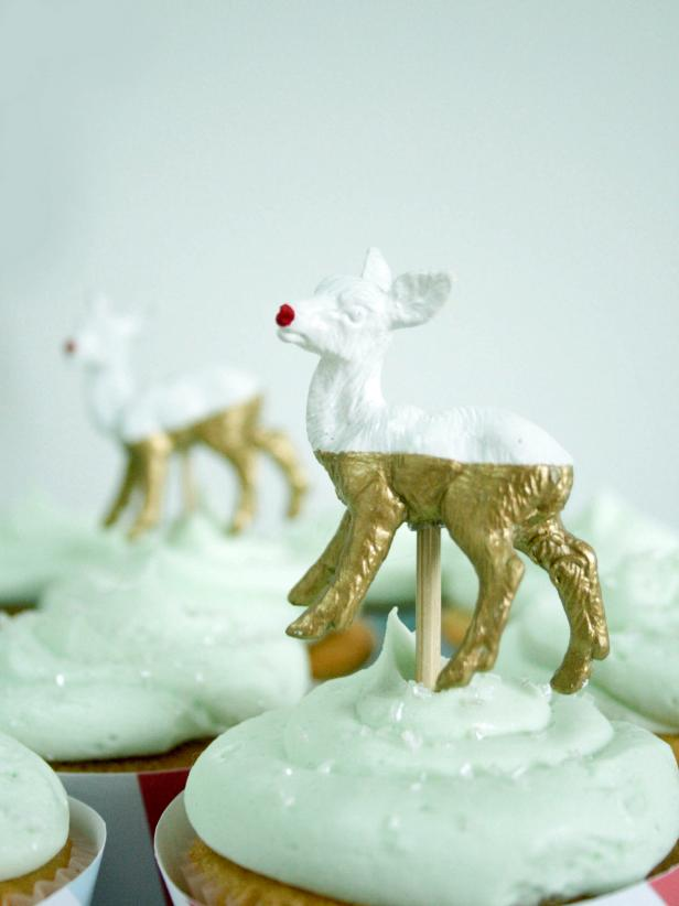 Final Touches to Reindeer Cupcake Toppers