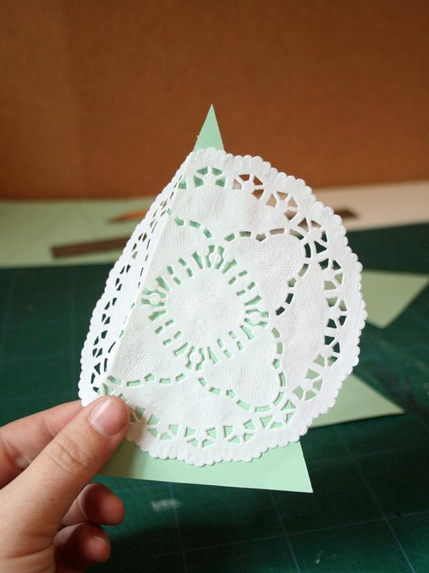 Cut Out Trees and Add Doilies for Marshmallow Pops