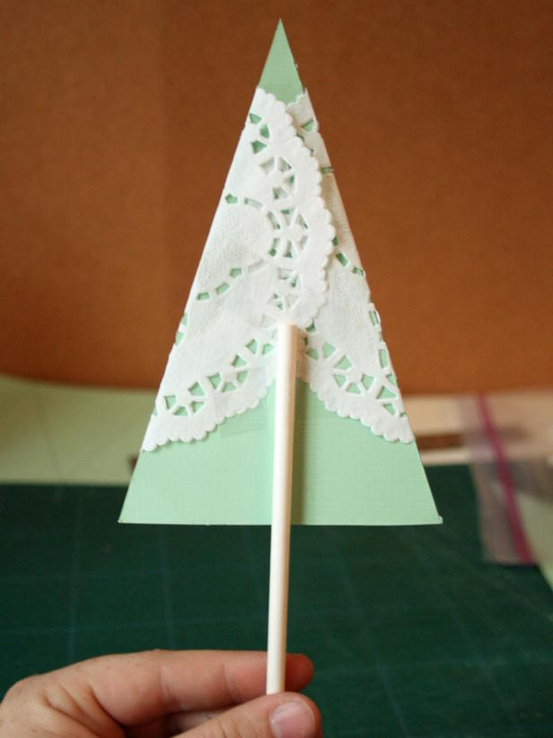 Add Paper Tree Top to Lollipop Stick