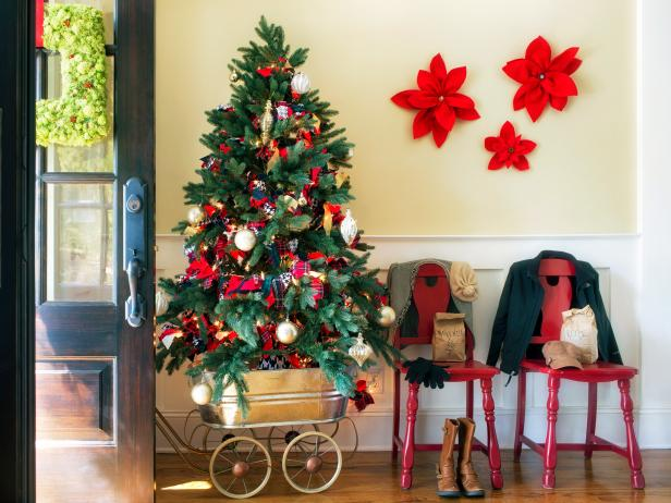 Traditional Entryway Decorated for the Holidays