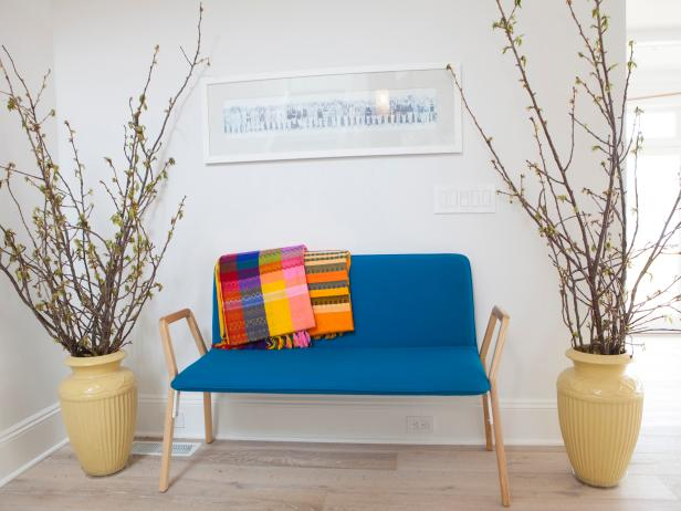 Contemporary Entryway With Blue Sofa