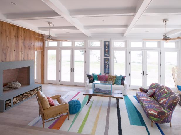 Exposed Beam Ceiling in Eclectic Living Room
