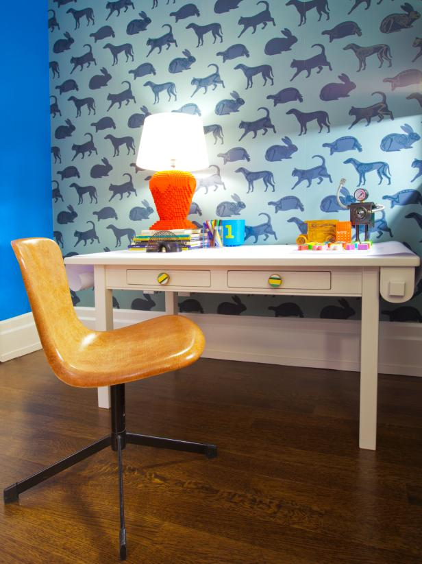 desk and animal print wallpaper