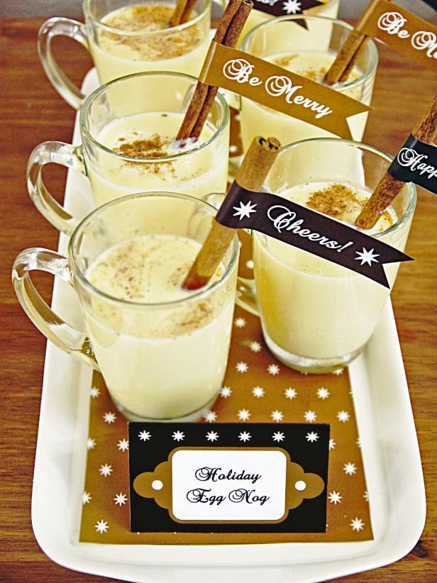 Christmas Party Eggnog Tray With Handmade Labels