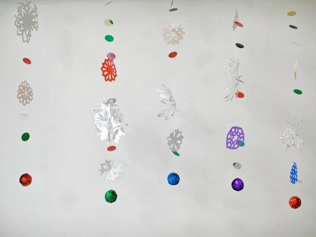 Multicolored Holiday Hanging Garlands With Snowflakes