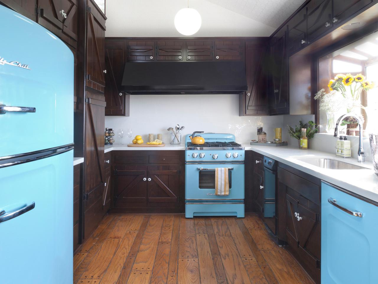 blue rustic kitchen turquoise blue retro appliances offset the dark