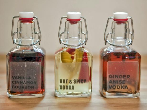 As easy as mixing together a few common kitchen ingredients with standard liquors, these three festive flavors make delicious holiday cocktails (and party favors.)