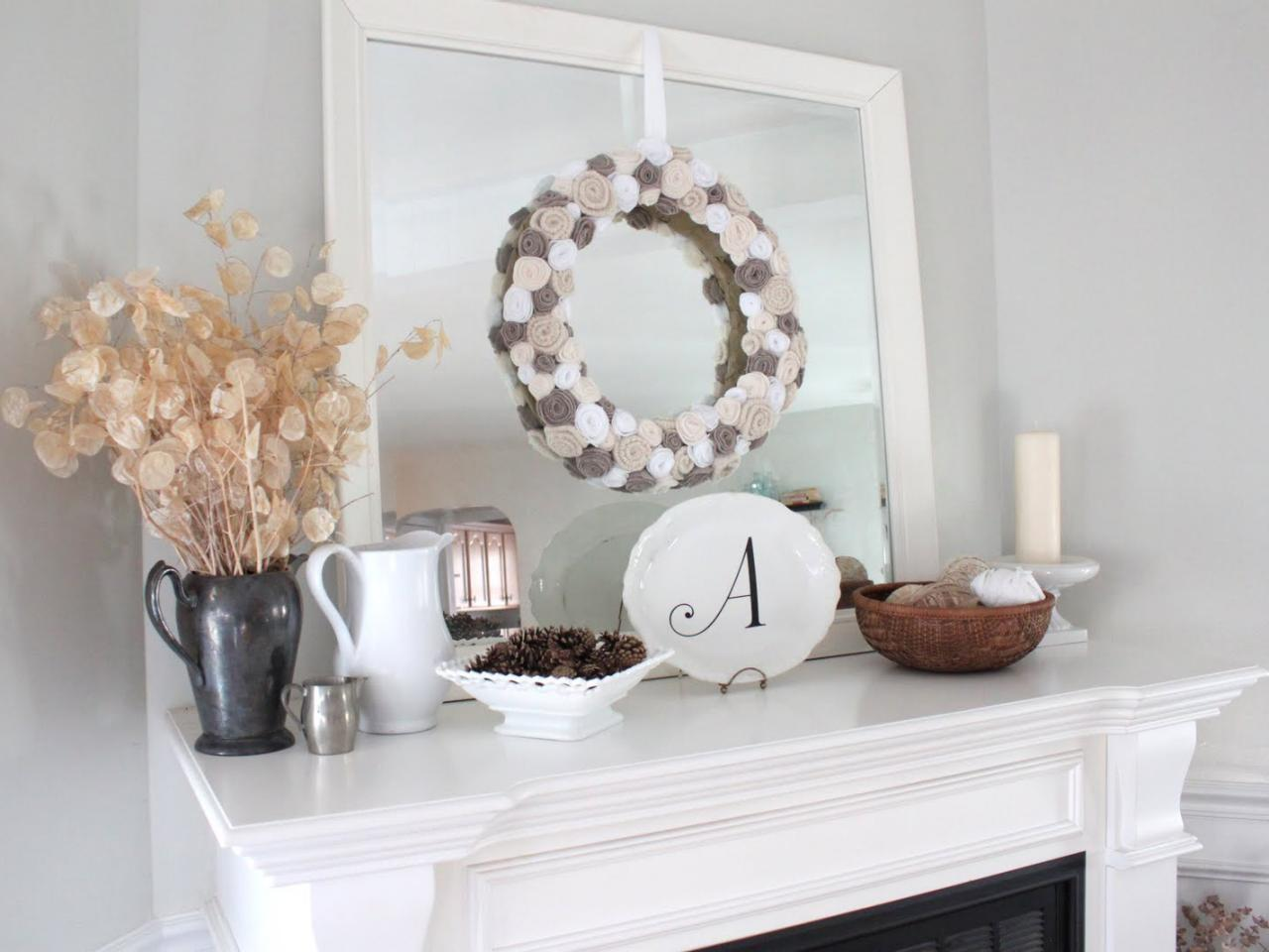 Winter-Themed Mantel