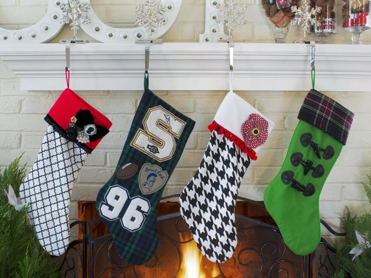 How to make a no sew felt stocking hgtv for Felt stocking decorations