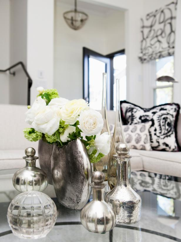 Silver Vases on Coffee Table