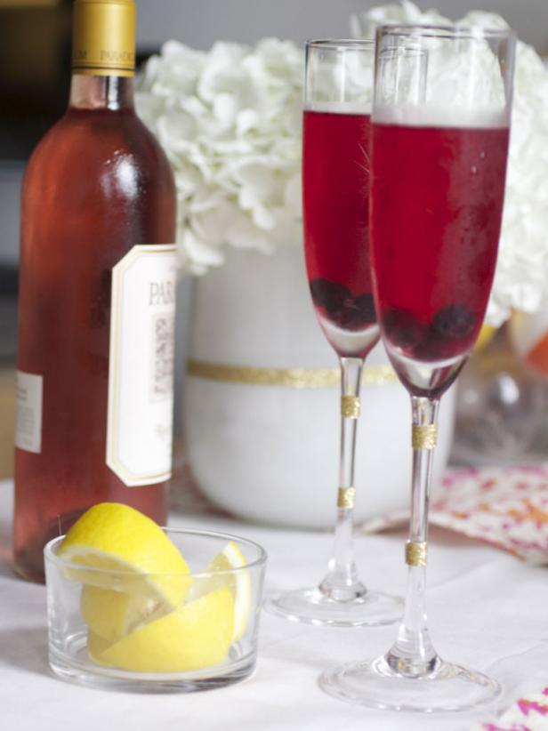Rose Lemon Champagne Punch Wedding Cocktail