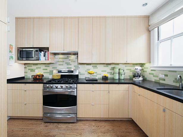 Light Contemporary Kitchen With Green Tile Backsplash