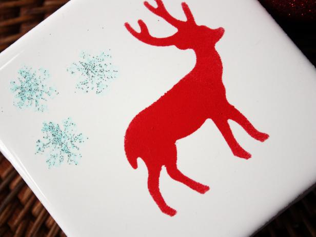 Add Felt Pads to Handmade Reindeer Coasters
