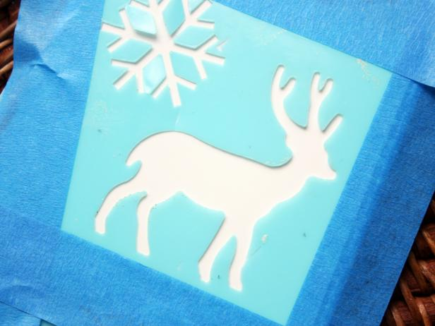 Place Stencils on Tile for Handmade Reindeer Coasters