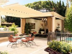 Traditional Patio With Outdoor Living Room and Awning