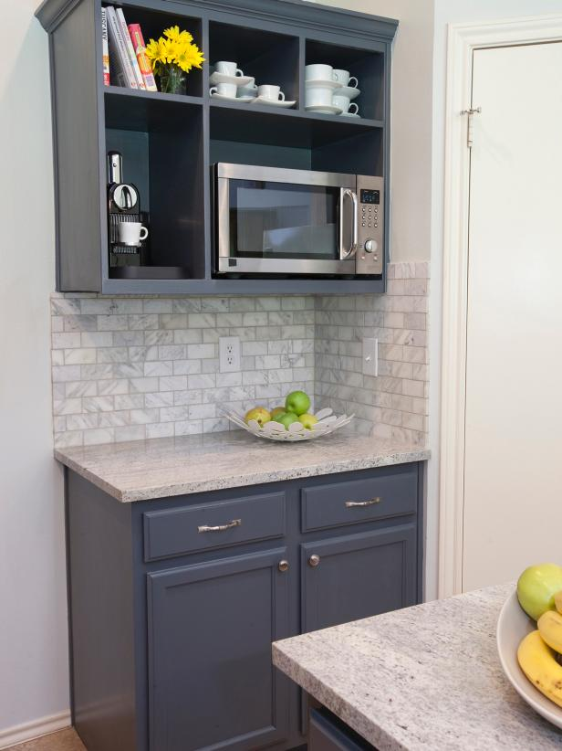 Open Shelving Houses Microwave In Neutral Kitchen