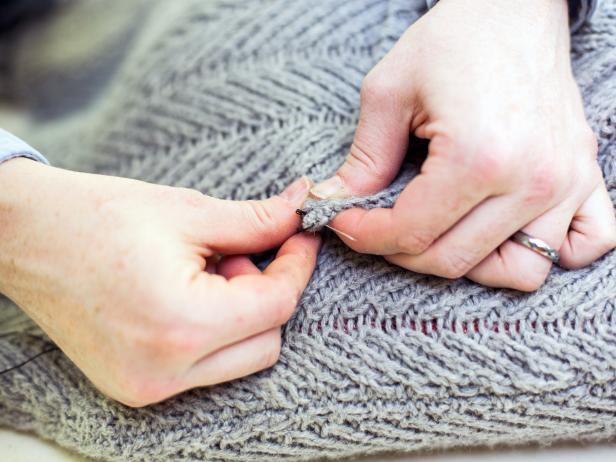 Stitching the Neck of a Sweater in Place When Making a Sweater Pillow