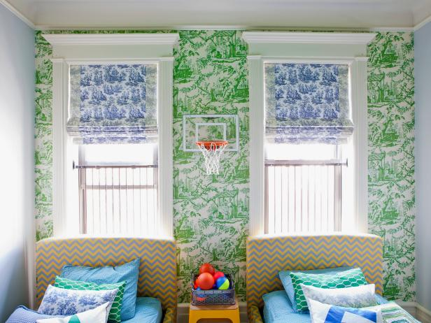 Eclectic Boys' Bedroom With Toile Wallpaper