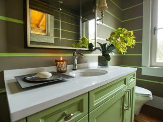 Contemporary Green Powder Room With Striped Walls