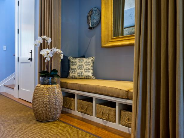 Blue Hallway With White Bench & Woven Baskets