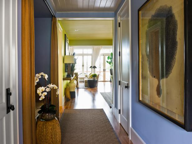 Blue Hallway and Green Dining Space