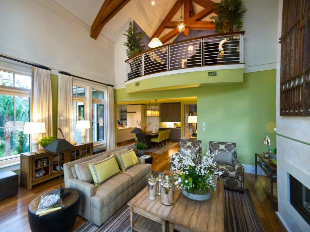 Lime Green Living Room With Neutral Accents & Interior Balcony