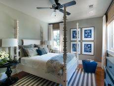 Guest Bedroom With Large Indigo Botanical Prints