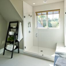 Guest Bedroom With Large Walk In Shower And Window