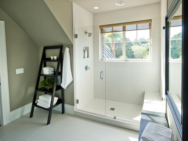 White Walk-In Shower With Glass Doors and Picture Window
