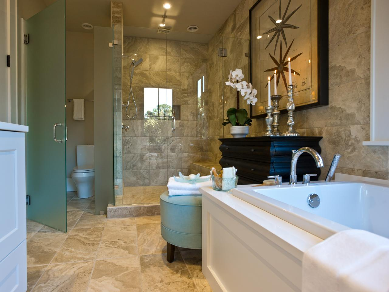Hgtv dream home 2013 master bathroom pictures and video for Master bedroom and bath plans