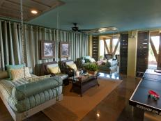 Teal Game Room With Hanging Beds