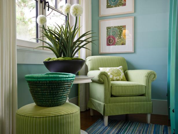 Striped Lime Green Club Chair and Ottoman in Blue Bedroom