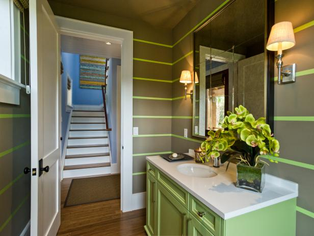 HGTV Dream Home 2013 Brown and Green Powder Room